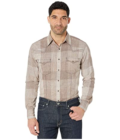 Wrangler Retro Premium Long Sleeve Snap Plaid (Tan) Men