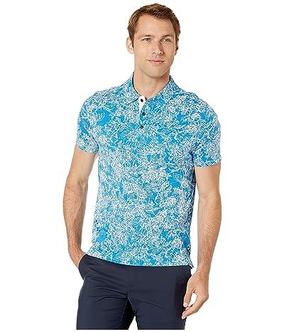 Perry Ellis Floral Pima Cotton Polo Shirt (Mediterranian Blue) Men