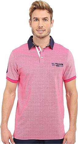 Solid Pique Polo Shirt w/ Contrast Collar