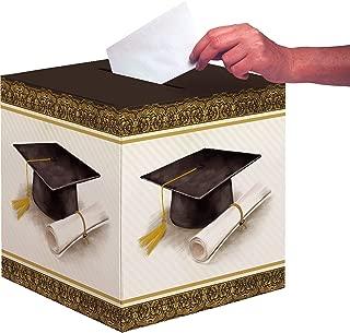 "Creative Converting 335404 Classic Graduation Card Box, 12"" x 12"", Gold and Silver"