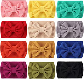 Cinaci 12 Pack Solid Stretchy Wide Headbands with Big Knot Bow Headwraps Hair Accessories for Baby Girls Infants Toddlers ...