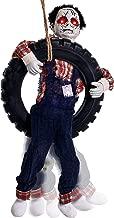 Halloween Haunters 3 Foot Animated Hanging Swinging Leg Kicking Zombie Boy Reaper in Tire Swing Prop Decoration - 16