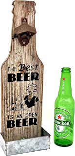 VINTAGE BARN Beer Bottle Opener - Wall Mounted With Cap Catcher. Cool Bottle Opener Gifts for Beer Lovers. Unique, Fun Hom...