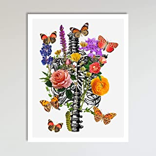 Rib Cage With Flowers, Abstract Anatomy and Flowers Floral Wall Art Decor Art Print Poster Modern Contemporary Boho Home Decor 11x14 Inches, Unframed