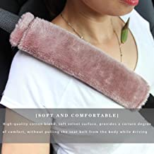 Soft Faux Sheepskin Seat Belt Shoulder Pad for a More Comfortable Driving, Compatible with Adults Youth Kids - Car, Truck, SUV, Airplane,Carmera Backpack Straps 2 Packs Camel