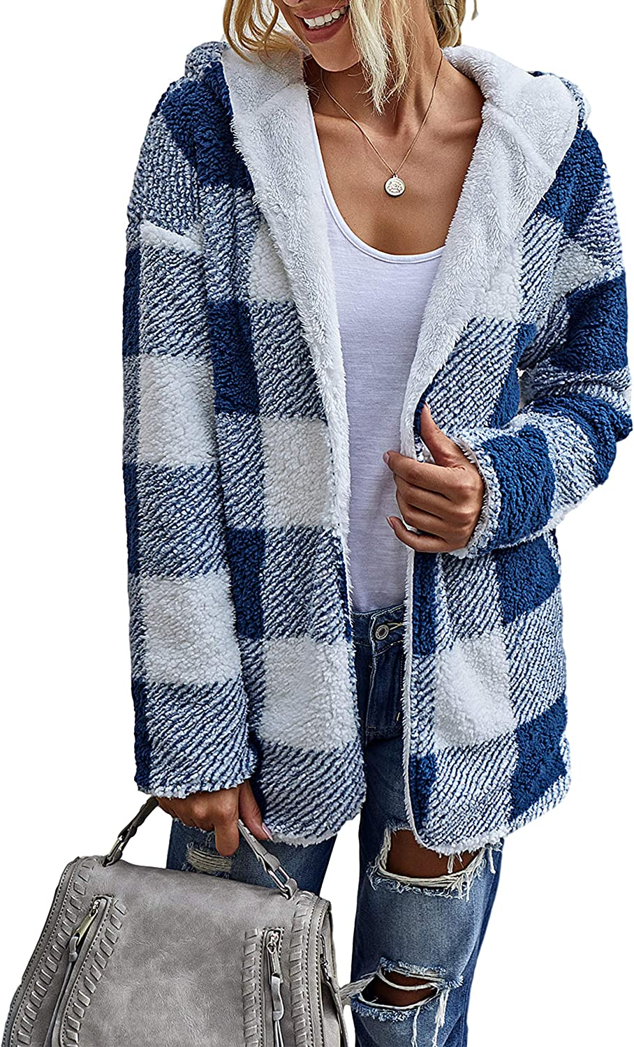 UANEO Womens Casual Sherpa Plaid Reversible Long Sleeve Mid Long Hooded Jackets