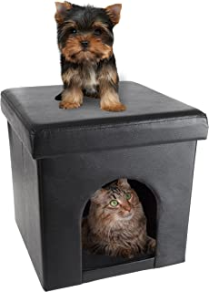 PETMAKER Pet House Ottoman- Collapsible Multipurpose Cat or Small Dog Bed Cube and Footrest with Cushion Top and Interior Pillow