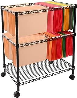 Finnhomy Supreme 2-Tier Metal Rolling File Cart Mobile Filing cart for Letter Size and Legal Size Folder, Black