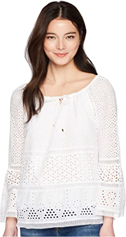 Petite Eyelet Lace Cotton Top