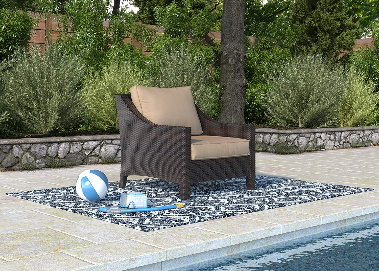 All-Weather with Thick Seat Cushion 3-Seater Sofa Garden Serta Tahoe Brown Resin Wicker Outdoor Patio Furniture Collection Porch or Pool
