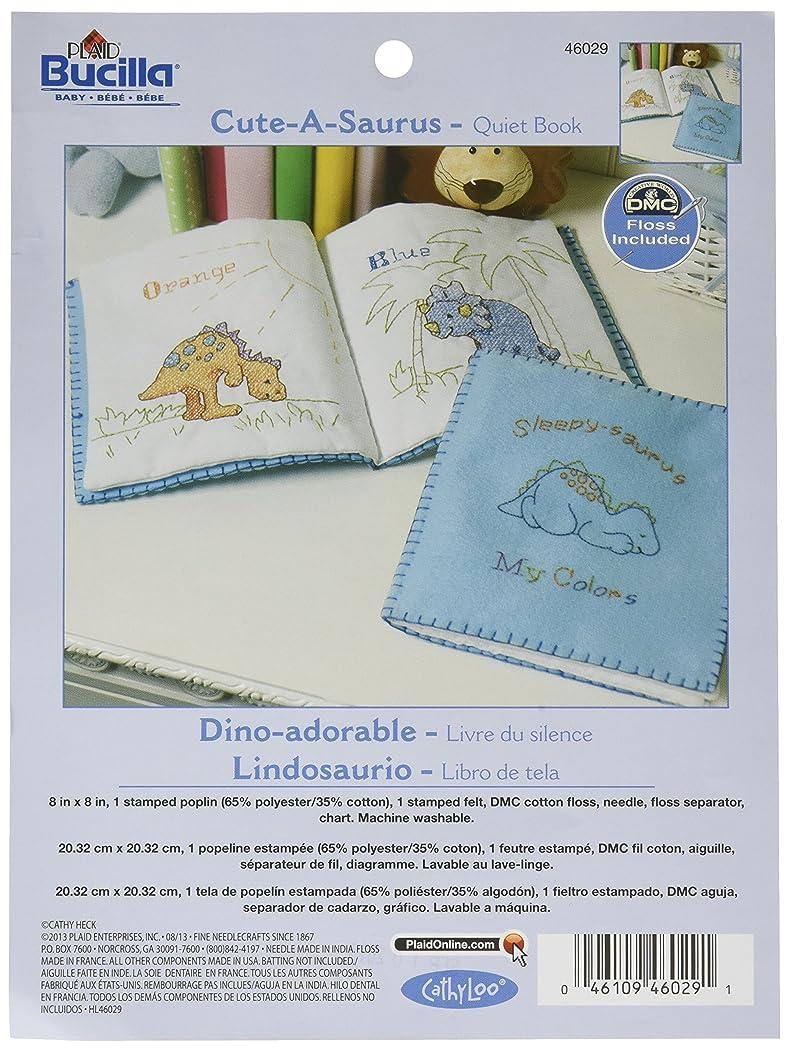 Bucilla Stamped Cross Stitch Quiet Book Kit, 9 by 9-Inch, 46029 Cute-a-Saurus