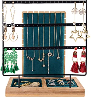 Betykuku Earring Holder Stand Jewelry Necklace Organizer Display Rack Wood Stand
