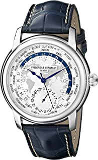 Frederique Constant Men's 'World Timer' Silver Dial Blue Leather Strap Swiss Automatic Watch FC-718WM4H6