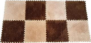 Interlocking Foam EVA Mat Fleece Carpet Flooring by Homeneeds (9 Pieces, Chocolate & Sand Fleece Mat)
