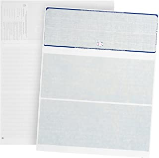500 Blank Check Stock- Designed for Secure Computer Printed Checks with Quickbooks, and more - Blue Linen Pattern- 500 Sheets - 8.5'' x 11''