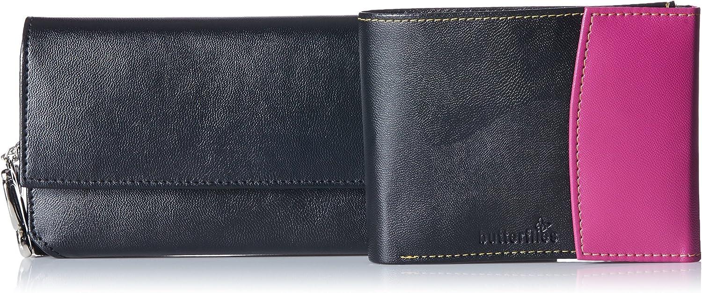Butterflies Women's Wallet (Black and Pink) (BNS C038)