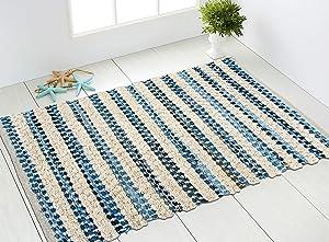 CHARDIN HOME Boho Rag Rug Denim Blue 2x3   Cotton Hand Woven Chindi Rug   Farmhouse Throw Rug   Perfect for Bathroom Kitchens entryways doormats Recycled Denim & Cotton Chenille   Blue & White