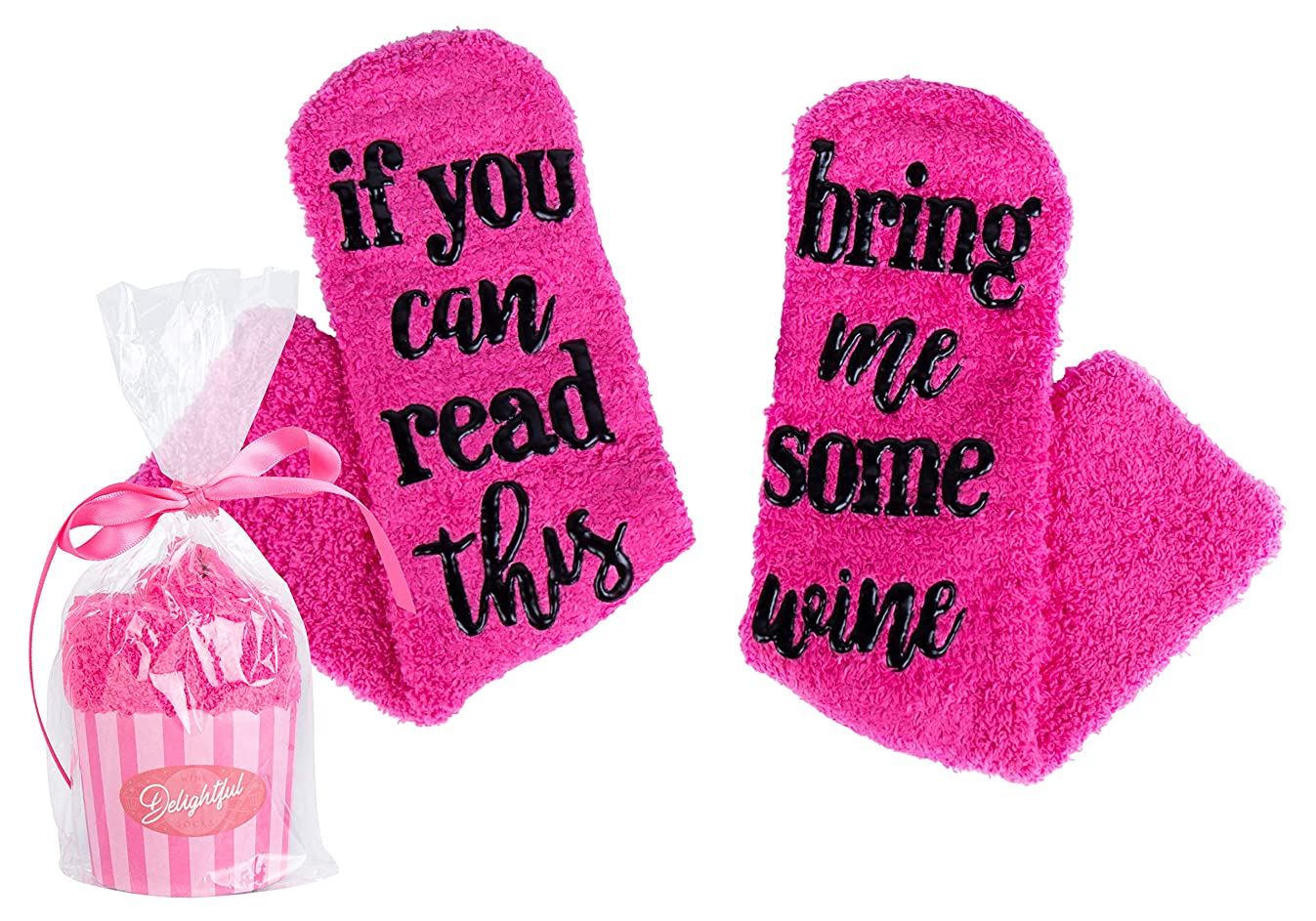 Wine Socks with Cupcake Packaging - If You Can Read This Bring Me Some Wine - 6 Colors to Choose From!