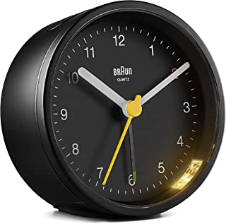 Braun Classic Analogue Alarm Clock with Snooze and Light, Quiet Quartz Movement, Crescendo Beep Alarm in Black, Model BC12B.