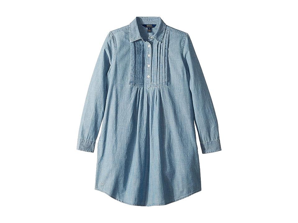 Polo Ralph Lauren Kids Pleated Chambray Dress (Big Kids) (Indigo) Girl