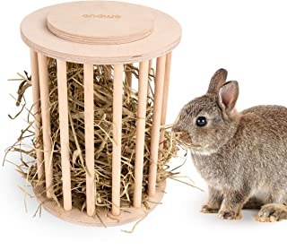 andwe Hay Feeder Cylindrical Stand Feeding Manager with Cover for Guinea Pig Rabbit Chinchilla Bunny