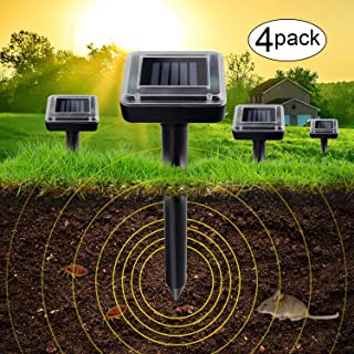 4 Pack Upgrade Mole Repellent,Ultrasonic Animal Repellent Waterproof Outdoor Solar Powered Gopher and Vole Chaser Humane Rodent Repellent (4 Pack)
