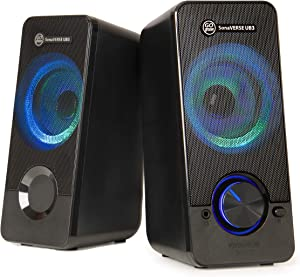 GOgroove UB3 LED Computer Speakers for Desktop and Laptop - USB Speakers with Loud and Clear Bass, 2.5 Inch XL Drivers for 12W of Power, Built-in Headphone and AUX Input Ports, LED Volume Knob - Black