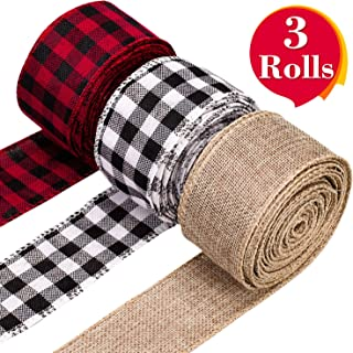 Whaline 3 Rolls Christmas Wired Edge Ribbons, 30 Yards x 2 Inches Black Red Plaid Ribbon, Black White Buffalo Plaid Ribbon and Burlap Craft Ribbon for Gift Wrapping, Christmas Crafts Decoration