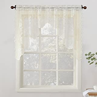 No. 918 Alison Floral Lace Sheer Kitchen Curtain Swag Pair, 58