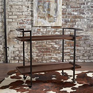 Christopher Knight Home Gerard Industrial Dark Walnut Finished Wooden Bar Cart