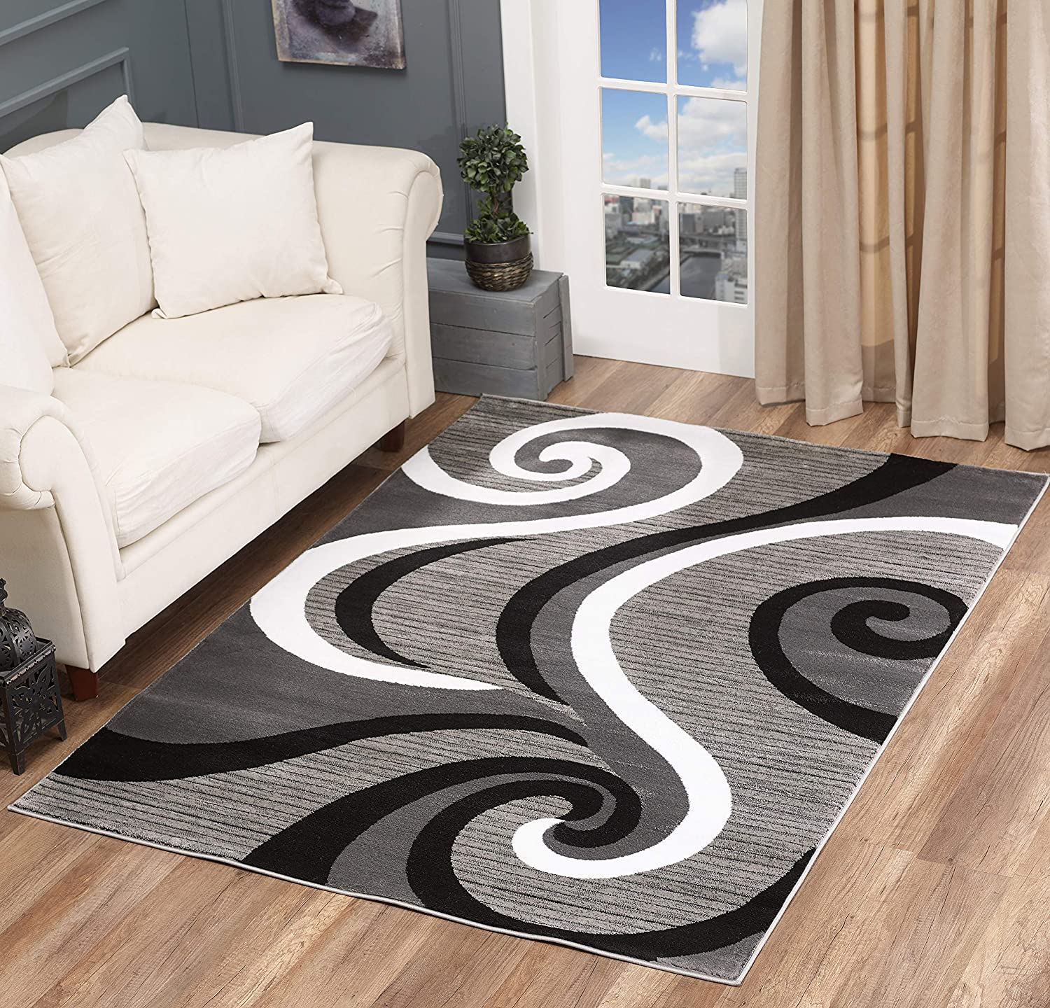 Buy Glory Rugs Modern Area Rug 5x7 Black Gray Modern Carpet Bedroom Living Room Contemporary Dining Accent Sevilla Collection 4817A (Grey Black) Online in Indonesia. B07QYQZXSR