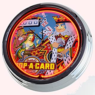 Reloj de neón Flipper Drop A Card Gottlieb 1971 – Reloj de pared decorativo con luz, estilo Estados Unidos, estilo retro d...