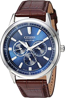 Citizen Men's Eco-Drive Stainless Steel Japanese-Quartz Watch with Leather Calfskin Strap, Brown, 20 (Model: BU2070-12L)