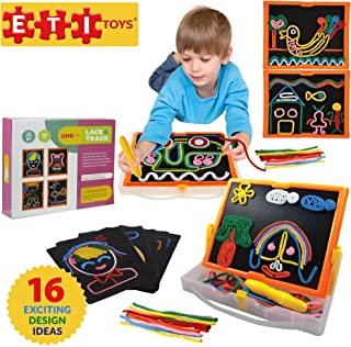 ETI Toys, 58 Piece Lace and Trace with Board. Draw House, Duck, Car, Trees, People, Sun and More. 100 Percent Non-Toxic, Fun, Creative Skills Development. Gift, Toy for 6, 7, 8 Year Old Boys and Girls
