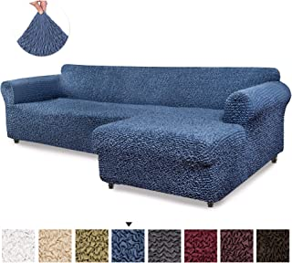 Sectional Sofa Cover - Sectional Couch Covers - L Couch Cover - Soft Polyester Fabric Slipcovers - 1-piece Form Fit Stretch Furniture Slipcover - Microfibra Collection - Blue (Right Chase)
