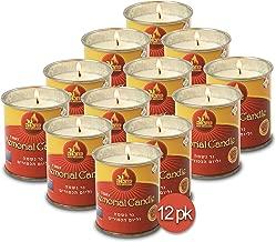 Ner Mitzvah 1 Day Yartzeit Candle - 12 Pack - 24 Hour Kosher Yahrtzeit Memorial and Yom Kippur Candle in Tin Cup Holder