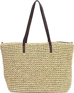 Sornean Large Knitted Straw Bag 100% Handmade Summer Beach Tote Bag Top Zipper Shoulder Bag