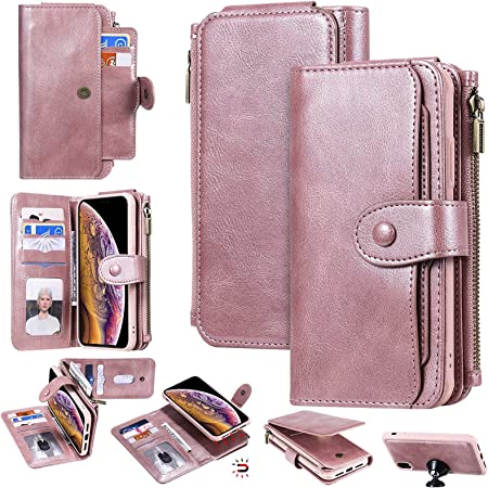 iPhone Xr Wallet Case,Yikatu 6.1 Inch Leather Wallet Phone Case for Women & Men,2 in 1 Zipper Detachable Folio Flip Cover Card Slots Money Pocket Clutch for iPhone Xr(Rose Gold)
