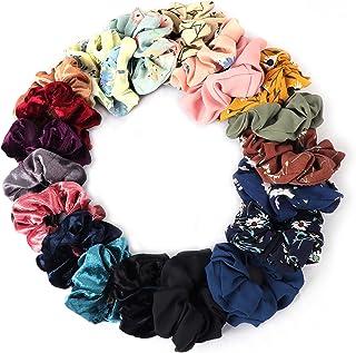 20 stuks haar scrunchies zachte haarbanden elastische haarbanden voor vrouwen, inclusief 8 stuks chiffon bloem haar scrunc...