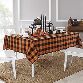 "Elrene Home Fashions Farmhouse Living Fall Buffalo Check Fabric Tablecloth, 52"" x 70"", Black/Orange"