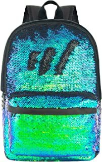 Magic Reversible Sequins Backpack Cute Sparkly Book Bags Backpack for Kids(Teal/Black)
