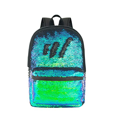 5a2b36c579d HeySun Magic Reversible Sequins Backpack Cute Sparkly Book Bags Backpack  for Kids(Teal Black