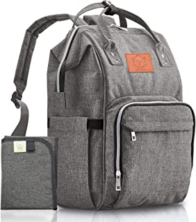 Diaper Bag Backpack – Large Waterproof Travel Baby Bags (Classic Gray)