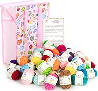 Mira Handcrafts 60 Bonbon Yarn Skeins for Knitting and Crochet – Total of 1312 Yards (1200 m) Acrylic Yarn in Assorted Colors – Stylish Yarn Bag Included – Starter Kit