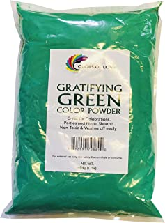 Colors of Love Green Holi Color Powder - 1 Pound Bag - Ideal for events, bath bombs, youth group color wars, Holi events and more!