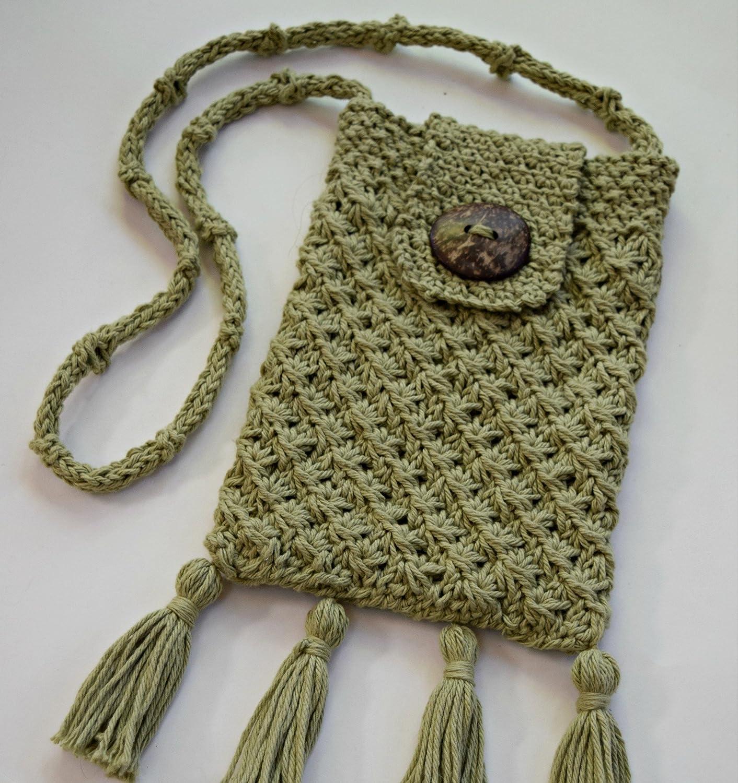 Hand online shop Knit store Pale Green Hippie Bag Crossbody Cotton