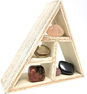 STRESS RELIEF Crystal Healing Set / Crystal Grid Stones and Wood Display Shelf Kit in Gift Box / for feng shui new age metaphysical