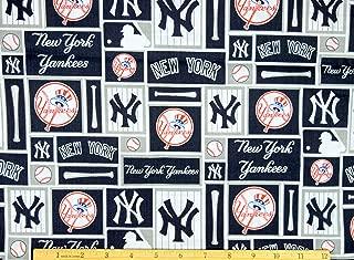 New York Yankees Fabric MLB Baseball Fabric in Navy Blue 58