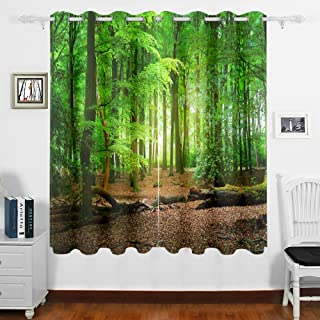 MNSRUU Room Darkening Window Curtain 2 Panels, Tropical Forest Trees Leaf Green Pattern Print Blackout Curtains with Gromm...