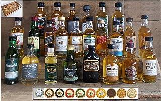 Geschenk 24 Whisky Miniaturen  24 Edelschokoladen in 10 Sorten im Karton Holzoptik